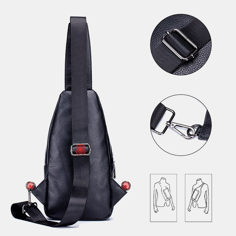 Men Genuine Leather Large Capacity Shoulder Bag Crossbody Bag For Business