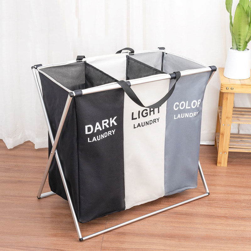 Foldable Tri-color Storage Baskets Dirty Laundry Basket Oxford Cloth