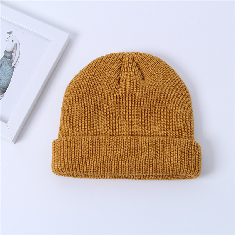Unisex Solid Color Knitted Wool Hat Skull Caps Beanie hats