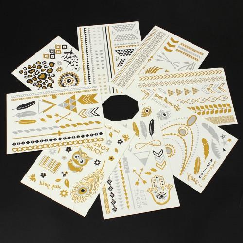 8Pcs Temporary Metallic Tattoo Stickers Gold Silver Flash Tattoos Flash Inspired Jewelry