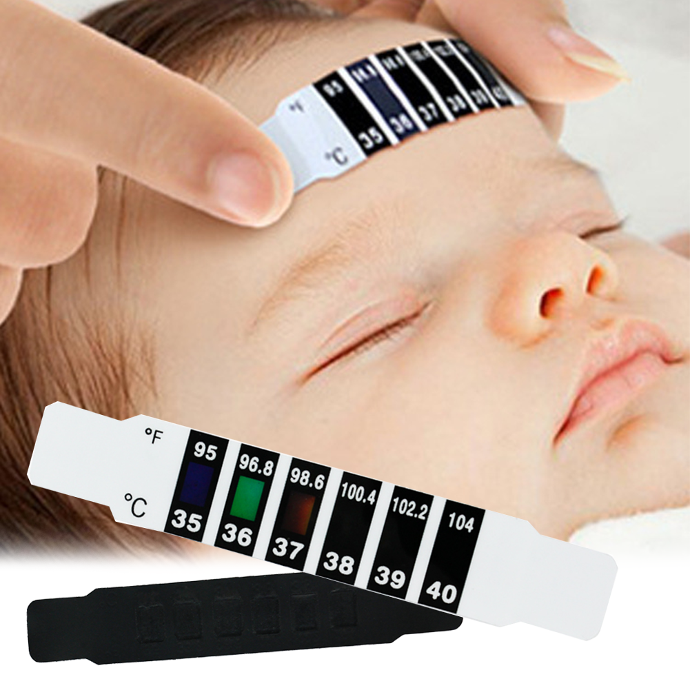 10Pcs/Pack Baby Kids Forehead Strip Head Thermometer Fever Body Temperature Paste Test