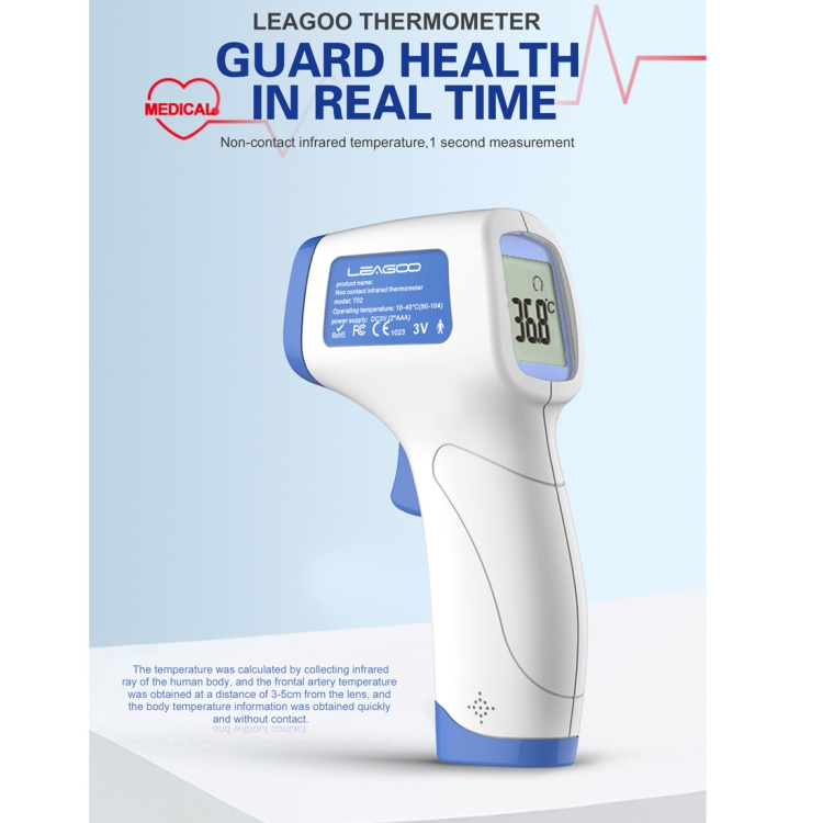 LEAGOO T02 Non-contact Forehead Body Infrared Thermometer (Blue)