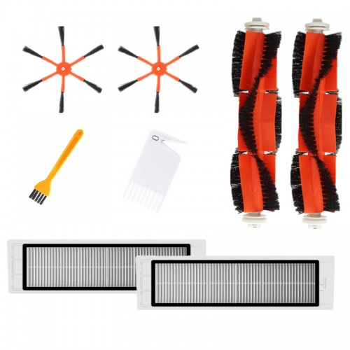8pcs Parts Brush Replacements for Xiaomi Roborock S6 S55 Vacuum Cleaner Original Side Brushes*2 Main Brushes*2 Filters*2 Yellow Cleaning Brush*1 White Cleaning Brush*1