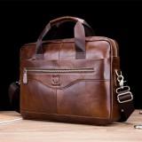 Bullcaptain Men Genuine Leather Handbag Business Bag Large Capacity Laptop Bag For Office