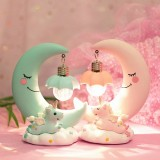 Resin Cartoon Night Lamp Children Room Decoration LED Night Light Moon Luminaria Romantic Bedroom Decor Night Light