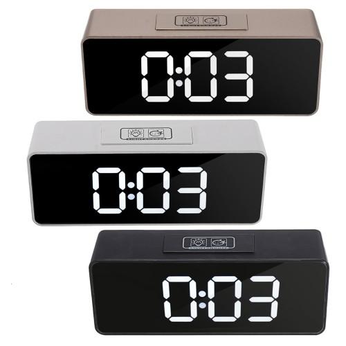 LED Mirror Alarm Clock Multifunctional Student Desktop Clock Makeup Mirror Clock USB Charging Music Alarm Clock