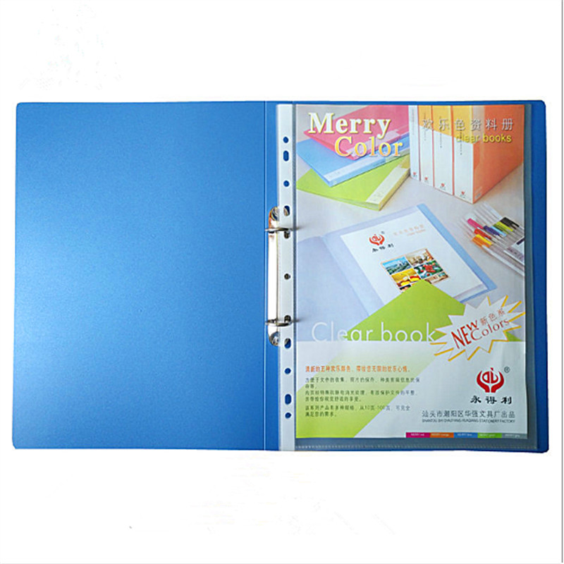 1 Piece A4 Blue File Folder 2 Holes O-shape Ring Binder