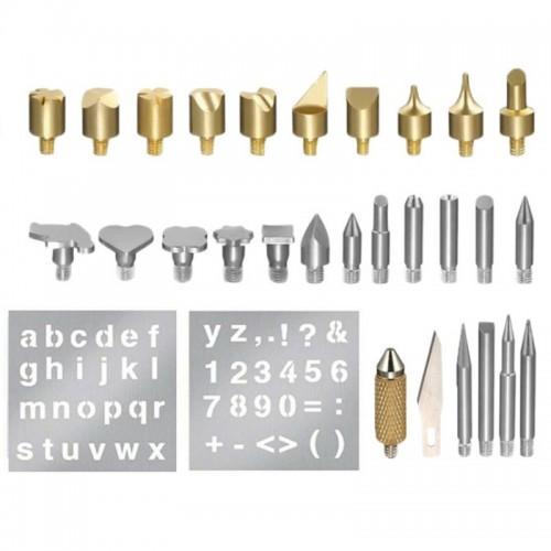 28PCS Durable Stencil Carving Art Pen Brass Tips Soldering Iron Tools Set Pyrography Kit Wood Burning Marking