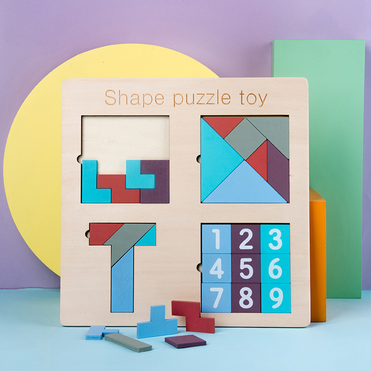 Intellegence Wooden Block Puzzle Set Numbers Tangram Tetris Shape Puzzle Jigsaw Puzzle Toy Kids Educational Development Toys Gifts for Children Students