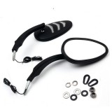 Rear View Wing Motorcycle Mirrors with LED Turn Signal Indicator Light For Harley Dyna