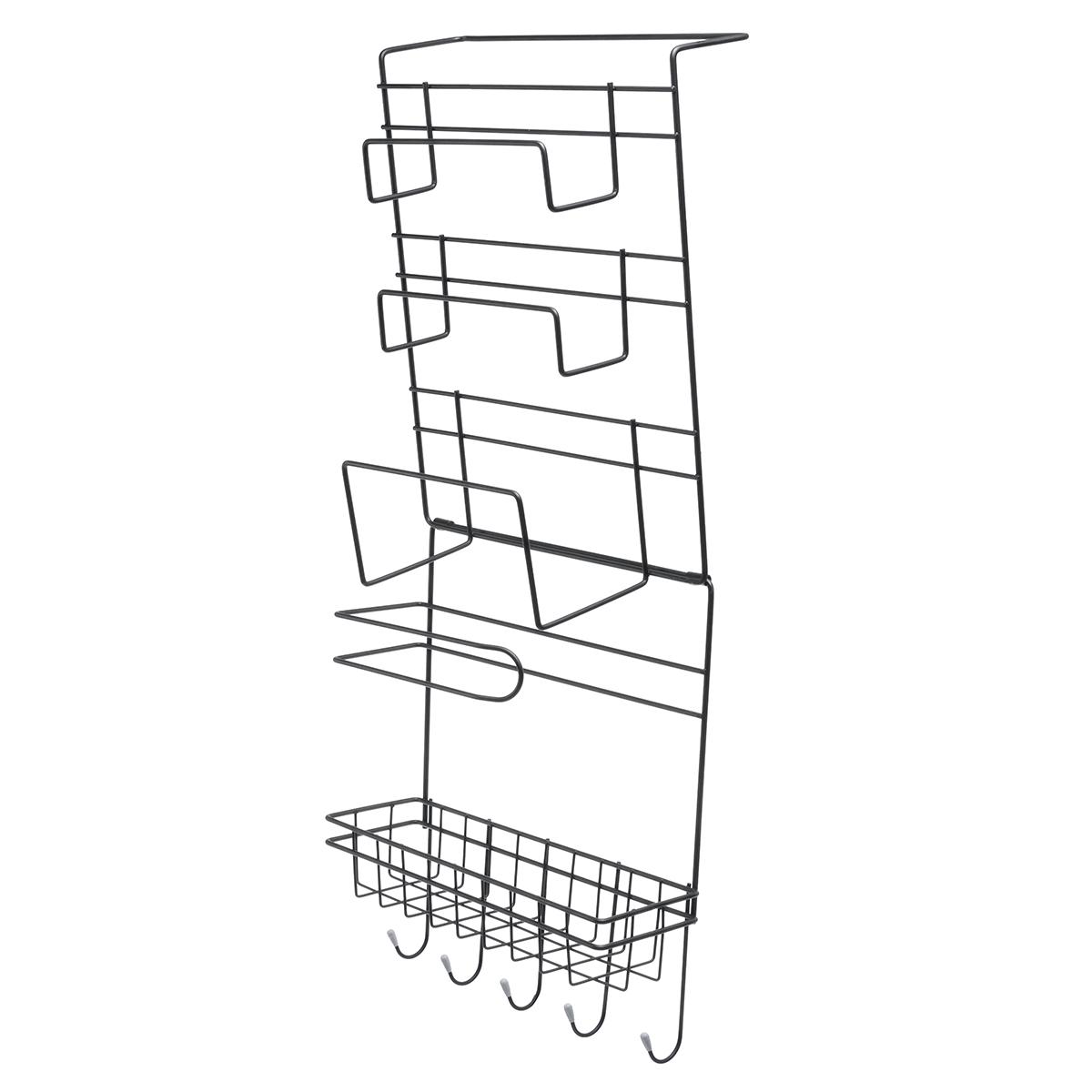 5 Tiers Iron Wall Mount Kitchen Freezer Door Spice Rack Storage Shelf Cabinet Organizer Fridge Holder