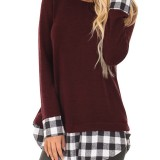 Long Sleeve Causal Plaid Patch Crew Neck High Low Hem T Shirts