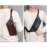 Fanny pack leather belt bag hole for headphones waist pack fishing bag sport