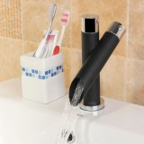 Widespread Bathroom Basin Faucet Oil Rubbed Bronze Waterfall Sink Mixer Tap