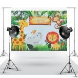Mehofoto Safari Woodland Happy Birthday Backdrop Safari Jungle Animals Photography Prop Background Backdrops Banner