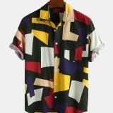 Mens Color Block Cotton Practical Pocket Short Sleeve Casual Shirts