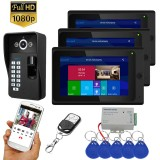7 inch 3 Monitors Wifi Wireless Fingerprint RFID Video Door Phone Doorbell Intercom System with Wired AHD 1080P Door Access Control System,Support Remote APP Unlocking,Recording