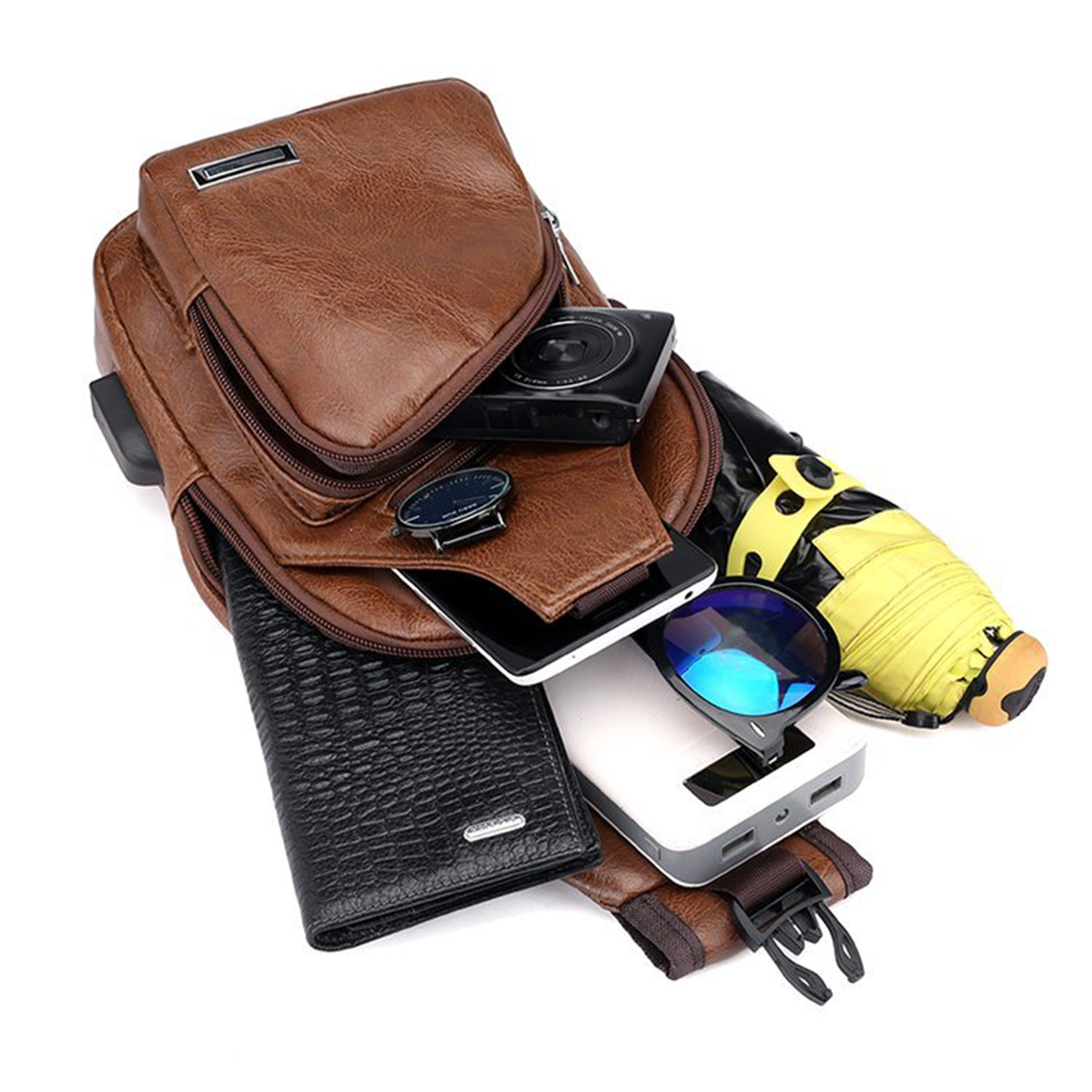 Casual Outdoor Travel USB Charging Port Sling Bag Leather Chest Bag Crossbody Bag