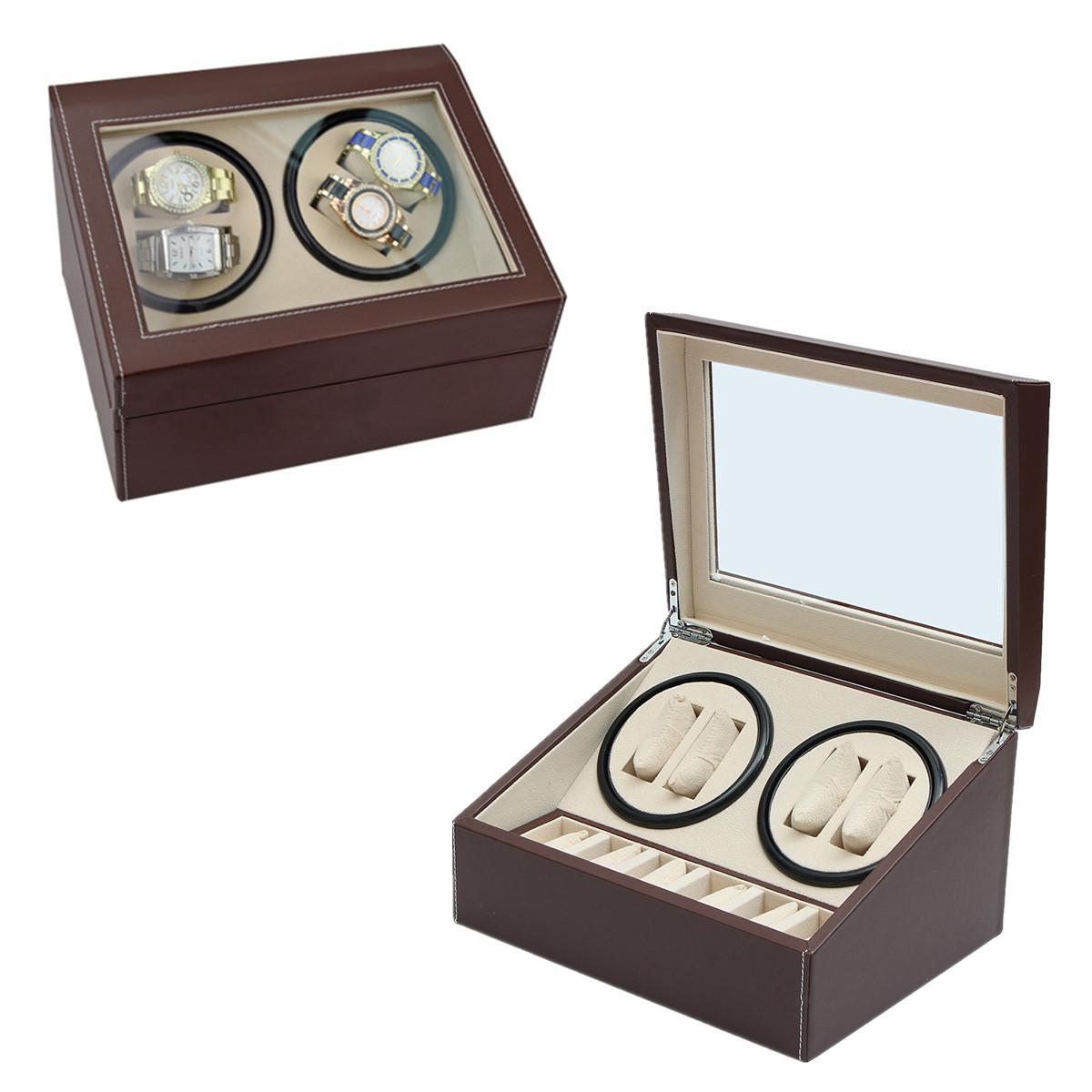 Automatic 4+6 Watch Winder Rotator Storage Case Display Watch Box