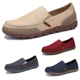 Men Driving Canvas Loafers Breathable Casual Flats Driving Boat Shoes Slip On