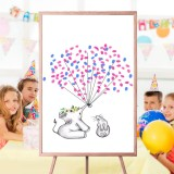 Frameless Elephant Wedding Paper Card Guest Book Signaturing Inkpad Sign Birthday Party Decorations