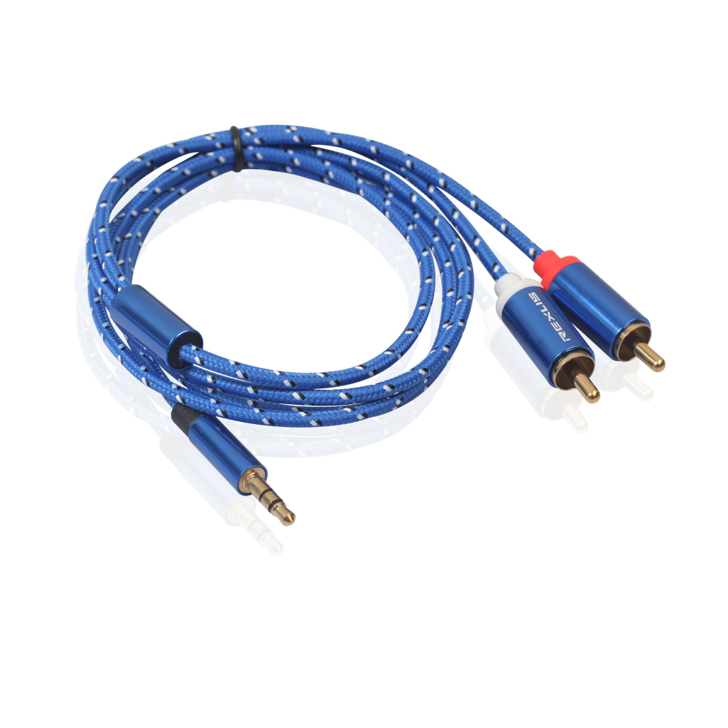 REXLIS 3610 RCA Audio Cable 2 RCA Male to 3.5mm Male Audio Cable RCA 3.5mm Jack AUX Cable for Amplifier Headphone Speaker Y Splitter Cable Cord