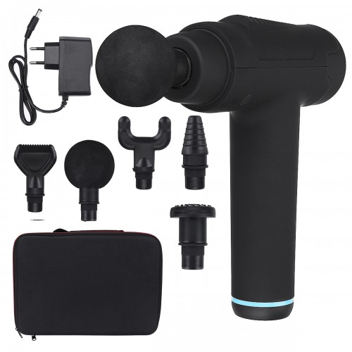 30 Gears Electric Percussive Massager 2550mAh Rechargeable Deep Muscle Shock Vibrating Massager + 6 Massage Heads