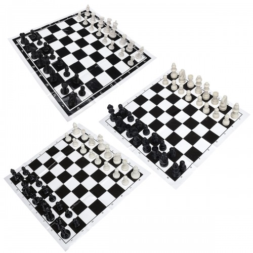 Portable Chess Tournament Chess Set 32 Plastic Pieces and Black Roll Chess Board