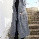 Plus Size Women Winter Warm Hooded Casual Long Coats with Pockets