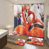 1/3PCS Flamingo Waterproof Bathroom Shower Curtain Non-Slip Rug Set Pedestal Rug Lid Toilet Cover Bath Mat Shower Curtains for Bathroom Decor
