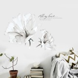 DIY 3D Wall Sticker Warm Romantic White Orchid Flowers Wall Sticker Decal Art for Living Room Bedroom Home Decor