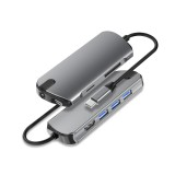 SEEWEI 1908C Type-C to USB 3.0 Hub USB-C Hub 8-in-1 Docking Station HD + PD Charging + 3.5mm Audio + TF / SD Card Reader