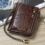 Men Genuine Leather RFID Blocking Anti-Theft Vintage Zipper Coin Bag Card Holder Chain Wallet