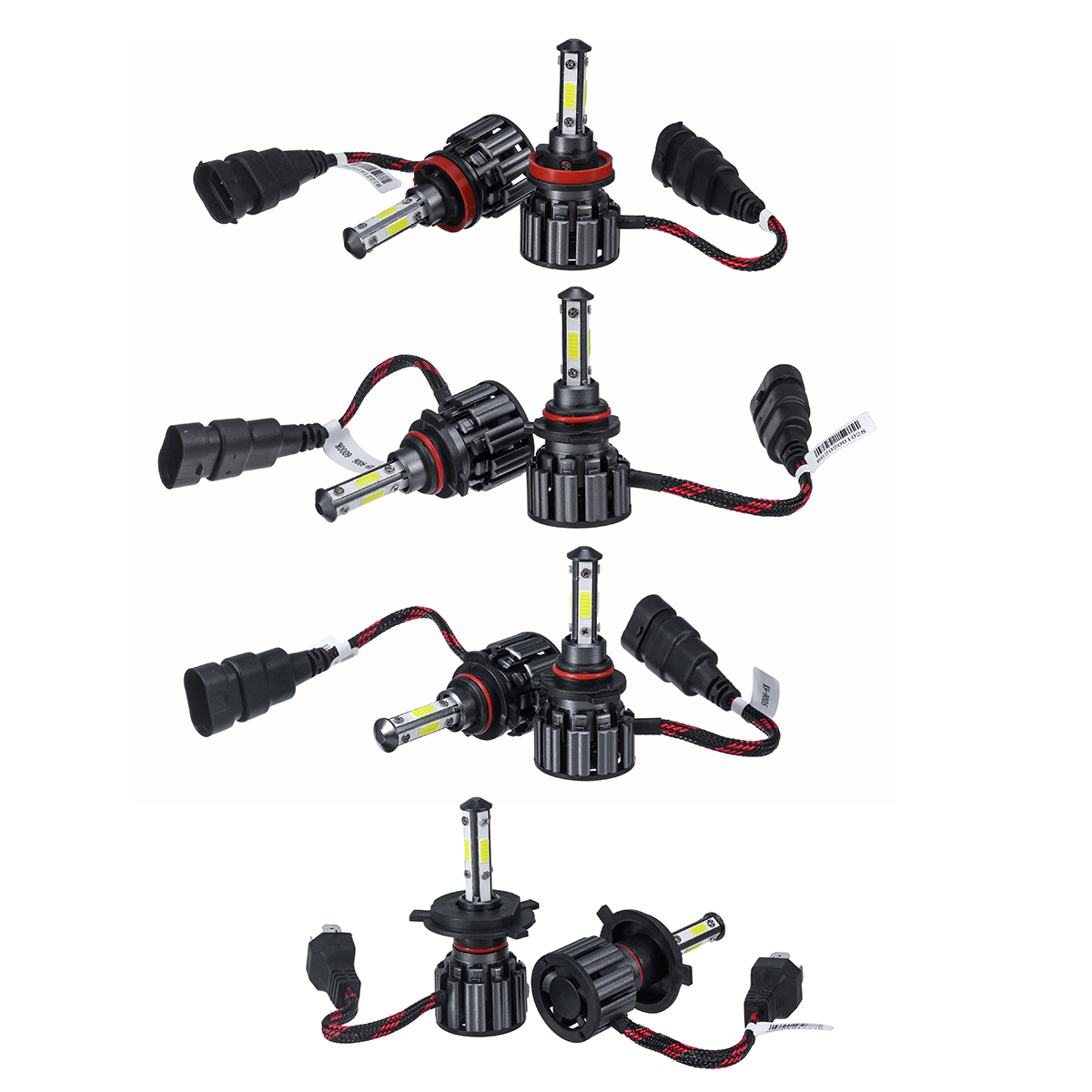 2Pcs 40W 8000LM 6000K H4/H7/9005/9006/H11 LED Headlights Bulbs High And Low Beam Bright 4-Side 9-36V IP68