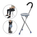 Stainless Steel Folding Tripod Cane Hiking Chair Portable Walking Stick With Seat
