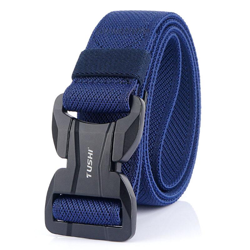 TUSHI 125cm Men Fashion Nylon Waist Belts With Automatic Magnetic Buckle Quick Unlock Tactical Belt Long Belt