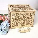 Wedding Card Box Wooden Rose Boxes Lock Party Wedding Decoration Money Case Gift
