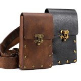 Medieval Renaissance Retro Punk Unisex Faux Leather Waist Pack Bag Phone Storage Bag Cosplay Knight Pirate Belt Costume Accessory