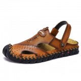 Men Genuine Leather Hand Stitching Dual-use Hollow Out Breathable Slip On Closed Toe Casual Summer Sandals