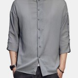 Mens Vintage Long Sleeve Solid Color Turn Down Collar Casual Shirts