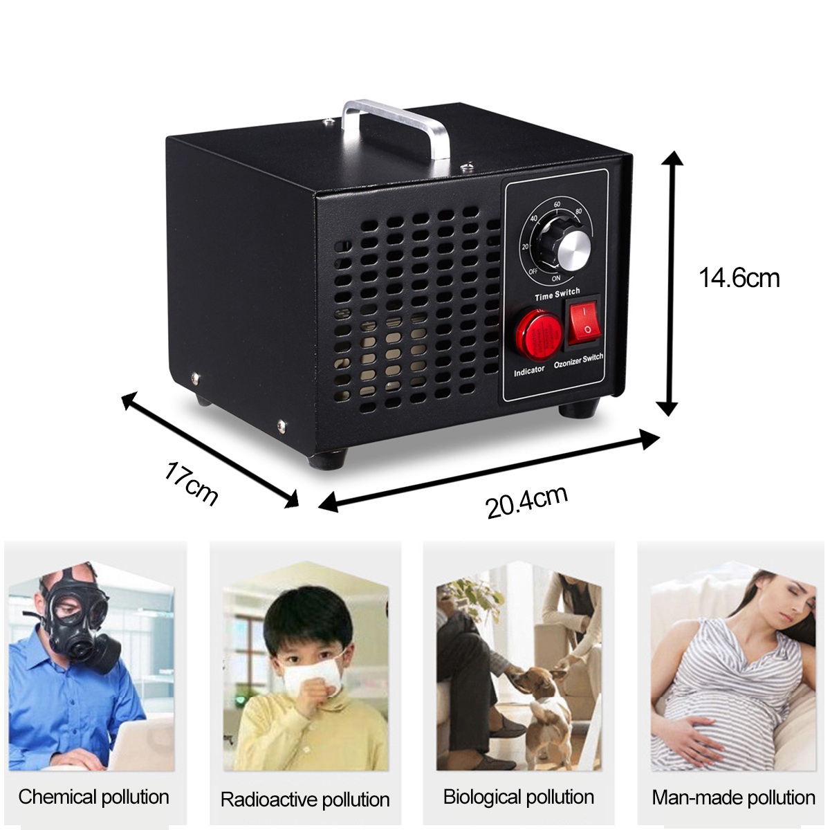 3.5g Commercial Ozone Generator Pro Air Purifier Ozonator Timer 220V for Home Disinfector