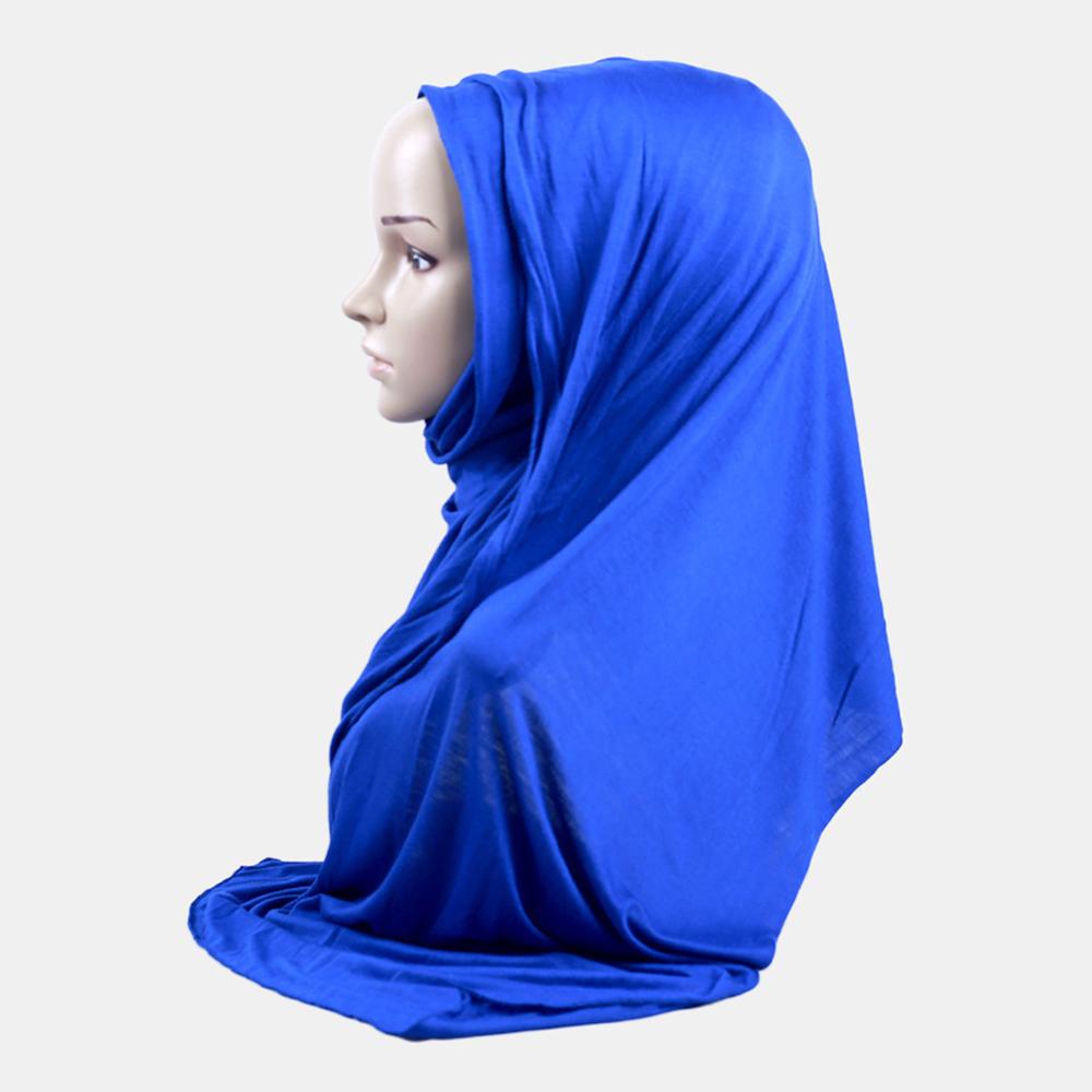 Solid Soft Scarf Mercerized Cotton Long Hejab Head Shawls Hijab Amira Islamic