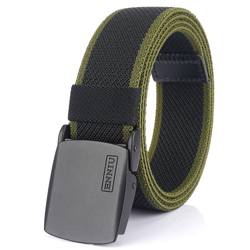 ENNIU 125cm Men Fashion Nylon Waist Belt With Automatic Metal Buckle Quick Unlock Tactical Long Belt