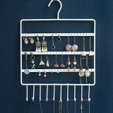 72 Holes 10 Hooks Wall Hanging Earring Jewelry Display Stand Storage Rack Metal Hanging Shelf With Hooks Space Save Jewelry Organizer Holder