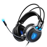 SADES R1 USB Wired 7.1 Surround Stereo Sound Vibration LED Light Gaming Headphone With Microphone for PC Laptop Gamer Gaming