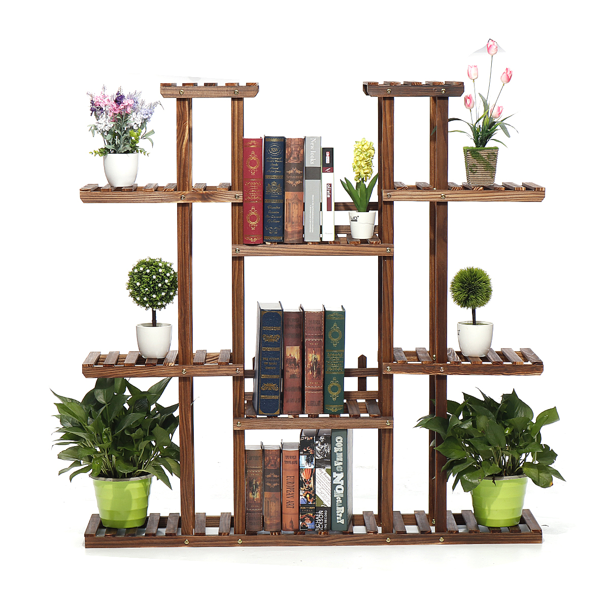 9 Tiers Wooden Plant Stand Carbonized Flower Pots Organizer Shelf Display Rack Holder for Indoor Outdoor Patio Garden Corner Balcony Living Room