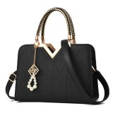 Elegant Women Golden Top Handle Satchel Handbag Tote Purse Shoulder Bag with Bead Pendant