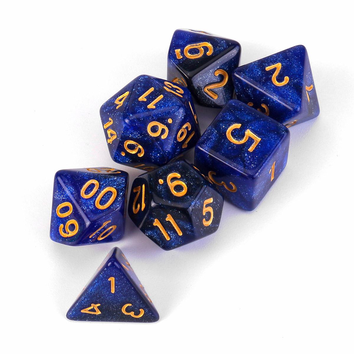 7Pcs Galaxy Polyhedral Dices For Dungeons Dragons Games D20 D12 D10 D8 D6 D4 +Bag