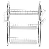 3 Layers Stainless Steel Dish Drain Rack Cup Chopsticks Holder Kitchen Desktop Countertop Organizer Tableware Drip Tray