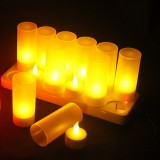 12PCS Flameless Rechargeable LED Candle Light Flickering Amber Tealights + Power Adapter for Party Home Decor